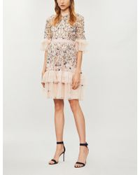 Needle & Thread - Floral-embroidered Tulle Dress - Lyst