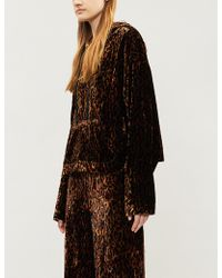 The Kooples - Leopard-print Oversized Velvet Hoody - Lyst