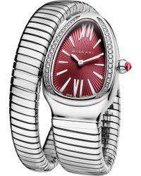 BVLGARI - Serpenti Tubogas Stainless Steel And Diamond Watch - Lyst