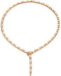 BVLGARI - Serpenti 18kt Rose-gold And Diamond Necklace - Lyst