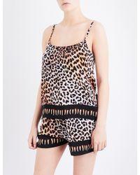 Rockins - Leopard-print Silk Pyjama Camisole - Lyst