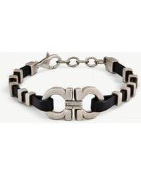 Ferragamo - Heart Sterling Silver And Leather Bracelet - Lyst
