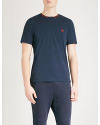 The Kooples - Striped-trim Cotton-jersey T-shirt - Lyst