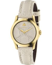 66d50ba2247 Gucci - Ya126580 G-timeless Collection Yellow-gold Pvd And Leather Watch -  Lyst