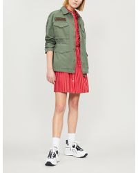 Izzue Graphic-back Drawstring-waist Cotton Jacket - Red