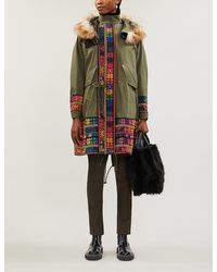 Sacai Oxford Floral-embroidered Panels Cotton-blend Coat - Multicolour