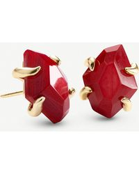 Kendra Scott Inaiyah 14ct Gold-plated And Red Mother-of-pearl Earrings - Metallic
