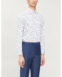 Ted Baker Floral-print Regular-fit Stretch-cotton Shirt - White
