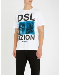 DIESEL - T-wallace Graphic-print Cotton T-shirt - Lyst