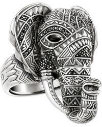 Thomas Sabo Elephant Head Sterling Silver Ring - Black