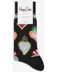 Happy Socks Heart Print Cotton Socks - Black