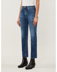 AG Jeans - Ladies Blue Isabelle Straight High-rise Cropped Jeans - Lyst