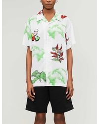 Obey Graphic-print Short-sleeved Woven Shirt - Green