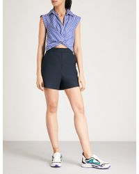 Sandro Capped Sleeve Striped Playsuit - Blue