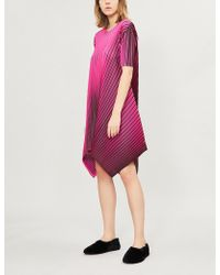 Pleats Please Issey Miyake - Alt Neon Asymmetric-hem Pleated Dress - Lyst
