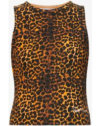 House Of Sunny Jungle Leopard-print Knitted Top - Brown
