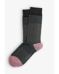 Ted Baker Baza Striped Stretch Cotton-blend Socks - Black