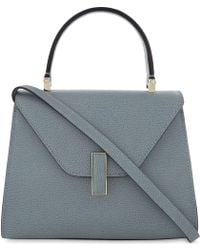 Valextra Polvere Blue Iside Mini Pebbled Leather Cross Body Bag