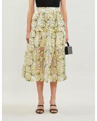 Maje Jizia Floral-pattern Organza Skirt - Yellow