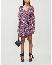 ROTATE BIRGER CHRISTENSEN Nancy Floral-print Woven Wrap Mini Dress - Purple