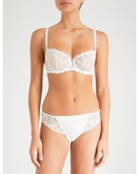 Simone Perele Wish Stretch-tulle And Lace Underwired Half-cup Bra - White