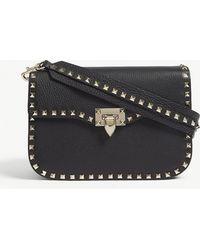 Valentino - Ladies Black Grained Rockstud Leather Messenger Bag - Lyst