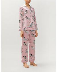 Olivia Von Halle Lila Zoe Zebra-print Silk-satin Pyjama Set - Pink