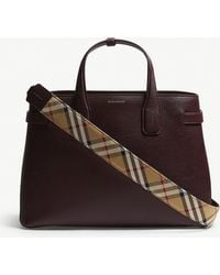 Burberry - Mahogany Red Check Vintage Banner Grained Leather Tote Bag - Lyst