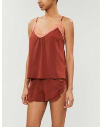 Love Stories Lynn Lace-trimmed Hammered-satin Pajama Top