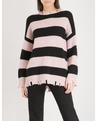 5cm - Distressed-hem Striped Knitted Jumper - Lyst