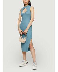 TOPSHOP Blue Midi Cut Out Dress