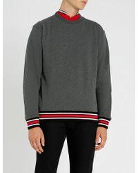 The Kooples - Striped-trim Cotton-jersey Sweatshirt - Lyst