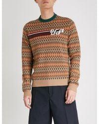 Prada - Chevron-pattern Wool And Cashmere-blend Jumper - Lyst