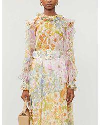 Zimmermann Super Eight Cotton And Silk-blend Top - Multicolour