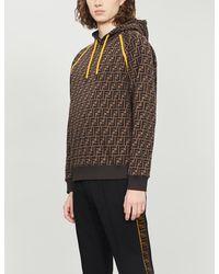 Fendi Logo-print Cotton-jersey Hoodie - Brown