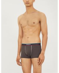 Zimmerli Branded Stretch-cotton Trunks - Gray
