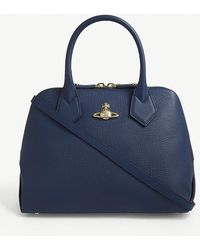 Vivienne Westwood - Navy Blue Balmoral Leather Tote Bag - Lyst