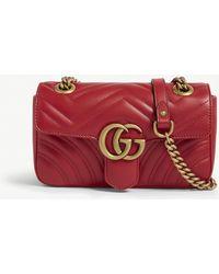 9f15e468aa60 Gucci Mini Gg Marmont 2.0 Leather Camera Bag in Green - Lyst