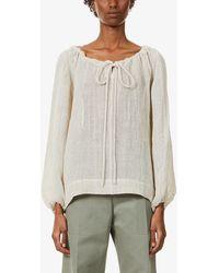 Lisa Marie Fernandez Puffed-sleeve Linen-blend Top - Natural