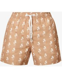 Far Afield Graphic-pattern Recycled-polyester Swim Shorts - Natural