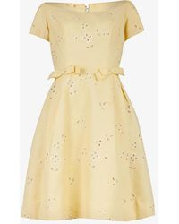 Beyond Retro Pre-loved 1950s Embroidered Woven Mini Dress - Yellow