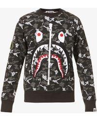 A Bathing Ape Digital Camo Shark Camouflage-pattern Cotton-jersey Sweatshirt - Black