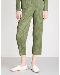 Pleats Please Issey Miyake | Basics Cropped Pleated Trousers | Lyst