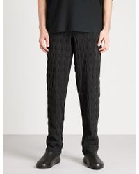 Issey Miyake - Seersucker Linen And Cotton-blend Trousers - Lyst