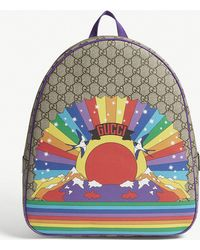0704ed076f19 Gucci - Supreme Rainbow Canvas Backpack - Lyst
