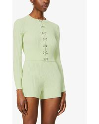 Dion Lee Hook Ribbed Stretch-jersey Cardigan - Green