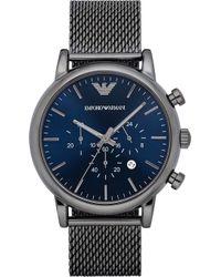 Emporio Armani - Men's Chronograph Luigi Gunmetal Stainless Steel Mesh Bracelet Watch 46mm Ar1979 - Lyst