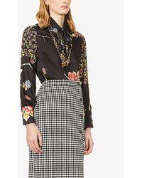 Victoria, Victoria Beckham Floral-print Silk-twill Shirt - Black