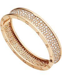 BVLGARI - B.zero1 18kt Pink-gold And Diamond Bangle - Lyst