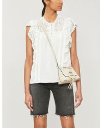 Sandro Short-sleeved Crepe And Lace Top - White